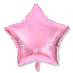 Balon gwiazdka 45 cm / foliowy / j.różowy / pudrowy