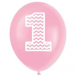 """Balon urodzinowy """"1"""" różowy 100 szt."""