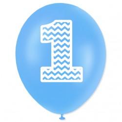"""Balon urodzinowy """"1"""" niebieski 100 szt."""