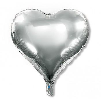 Balon serce 60 cm / foliowy / srebrny