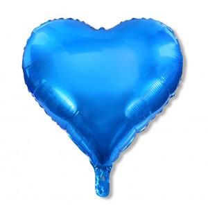 Balon serce 60 cm / foliowy / metaliczny niebieski