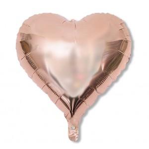 Balon serce 60 cm / foliowy / różowe złoto