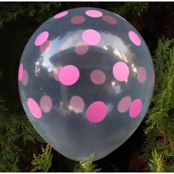 Balon dekoracyjny, przeźroczysty / różowe grochy 100 szt.