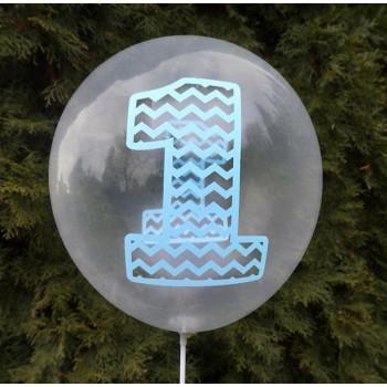 """Balon urodzinowy przeźroczysty / """"1"""" niebieska 100 szt."""