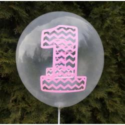 """Balon urodzinowy przeźroczysty / """"1"""" różowa 100 szt."""