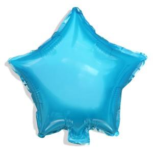 Balon gwiazdka 25 cm / foliowy / j. niebieski / pudrowy