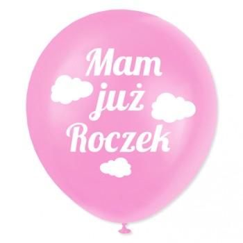 Balon dekoracyjny, różowy / Mam już roczek / chmurki  - białe 100 szt.