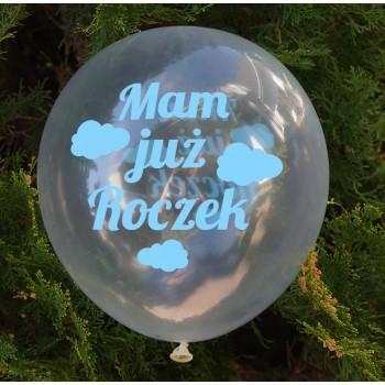 Balon dekoracyjny, przeźroczysty / Mam już roczek / chmurki - niebieske 100 szt.