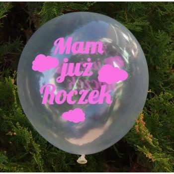 Balon dekoracyjny, przeźroczysty / Mam już roczek/chmurki - różowe 100 szt.