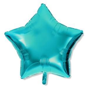 Balon gwiazdka 25 cm / foliowy / niebieski Tiffany