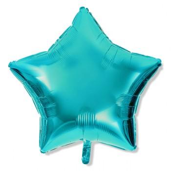 Balon gwiazdka 45 cm / foliowy / niebieski  Tiffany