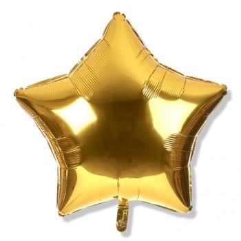 Balon gwiazdka 25 cm / foliowy / złoty