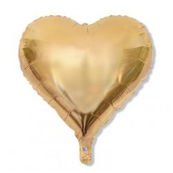Balon serce 60 cm / foliowy / platynowe złoto