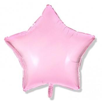 Balon gwiazdka 25 cm / foliowy / różowy, pastelowy pudrowy