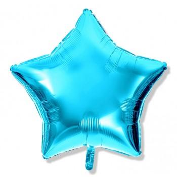 Balon gwiazdka 25 cm / foliowy / j. niebieski metaliczny