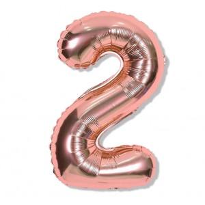 """Balon cyfra różowe złoto """"2"""" 40 cm"""