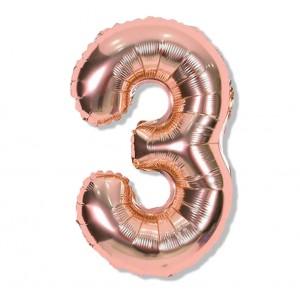 """Balon cyfra różowe złoto """"3"""" 40 cm"""