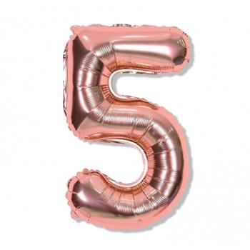 """Balon cyfra różowe złoto """"5"""" 40 cm"""