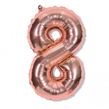 """Balon cyfra różowe złoto """"8"""" 40 cm"""