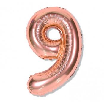 """Balon cyfra różowe złoto """"9"""" 40 cm"""