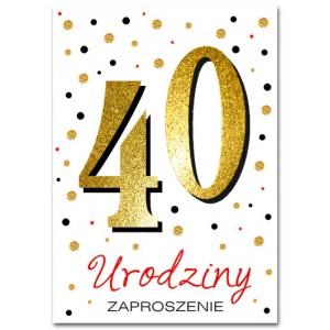 Zaproszenie brokatowane na 40 / 10 szt.