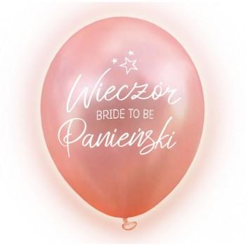 """Balon świecący 12 """" LED / ROSE GOLD Wieczór Panieński / 5 szt."""