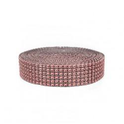 Taśma ozdobna/cyrkonie ROSE GOLD, różowe złoto 3cm/9,1 mb
