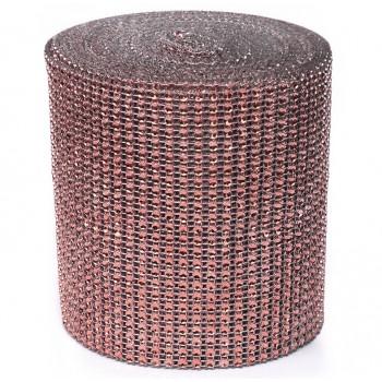 Taśma ozdobna/cyrkonie ROSE GOLD, różowe złoto12 cm/9,1 mb