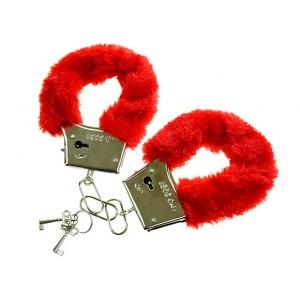 Kajdanki z futerkiem czerwone / woreczek