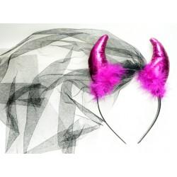 Rogi z czarnym welonem i futerkiem / różowe