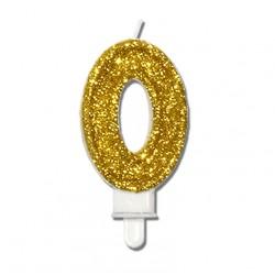 """Świeczka urodzinowa """"0"""" złota mocny brokat"""