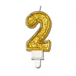 """Świeczka urodzinowa """"2"""" złota mocny brokat"""