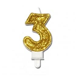 """Świeczka urodzinowa """"3"""" złota mocny brokat"""