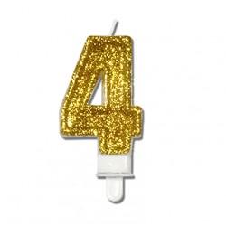 """Świeczka urodzinowa """"4"""" złota mocny brokat"""