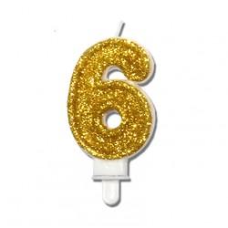 """Świeczka urodzinowa """"6"""" złota mocny brokat"""
