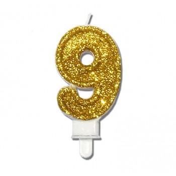 """Świeczka urodzinowa """"9"""" złota mocny brokat"""