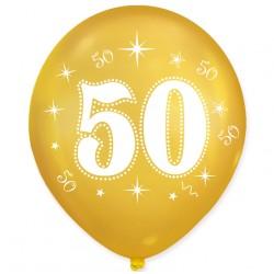 """Balon urodzinowy / """"50"""" metaliczny złoty 100 szt."""