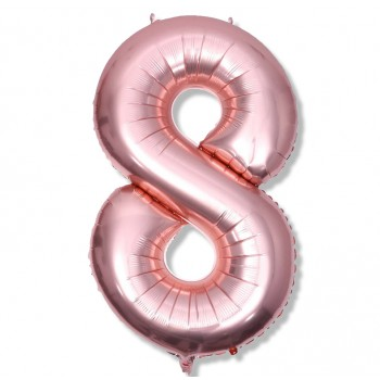 "Balon cyfra różowe złoto / rose gold  ""8""  100 cm"