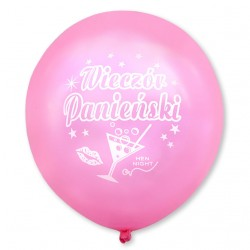 Balon Wieczór Panieński / różowy, biały nadruk