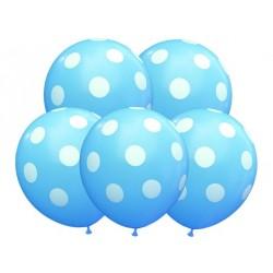 Balon urodzinowy/grochy niebieski 100 szt.