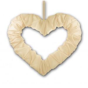 Serce z tasiemką ecru 50 cm