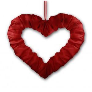 Serce z tasiemką bordowe 50 cm
