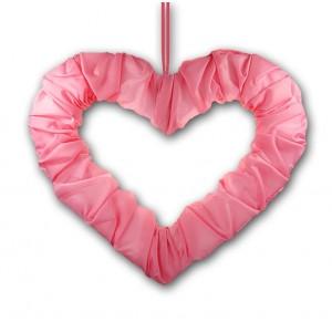 Serce z tasiemką różowe 50 cm