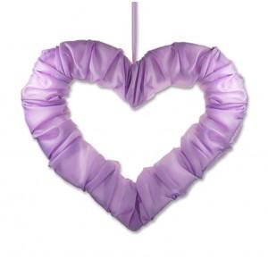 Serce z tasiemką lila 50 cm