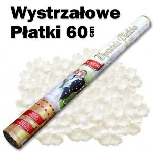 Wystrzałowe konfetti / wyrzutnia płatków 60 cm (ecru)