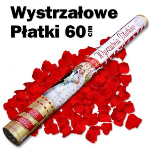 Wystrzałowe konfetti / wyrzutnia płatków 60 cm (czerwone)