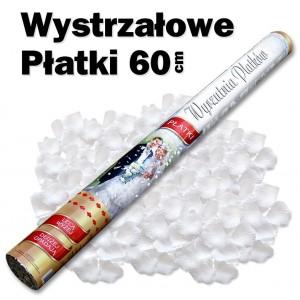 Wystrzałowe konfetti / wyrzutnia płatków 60 cm (białe)