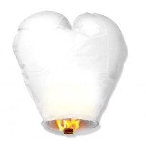 Lampion szczęścia serce białe