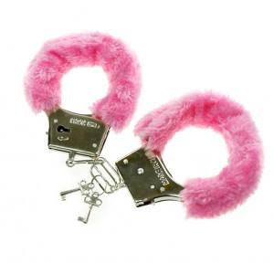 Kajdanki z futerkiem różowe / woreczek