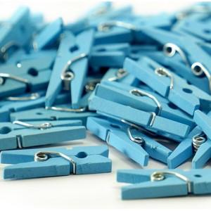 Mini klamerki dekoracyjne / NIEBIESKIE 2,5 cm /100 szt.